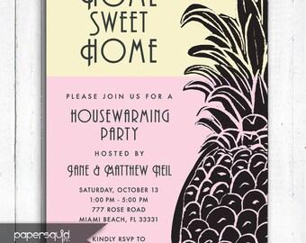 Pineapple Housewarming Invitation, Tropical Housewarming Invitation, Pineapple, Personalized Tropical invitation, Digital File,  Item 197C