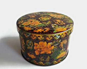 Vintage Made in England Round Tin, Fall/Autumn Colors