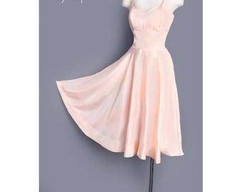 1950's Soft Pink Circle Skirt Slip UNDER Dress - Medium