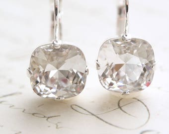 Cushion Cut Earrings, Swarovski Crystal Earrings, Square Earrings, Bridal Earrings, Bridesmaid Earrings