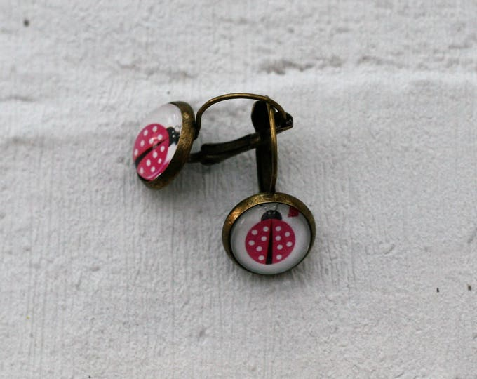 Ladybird Earrings, Insect Illustration, Dangle Earrings