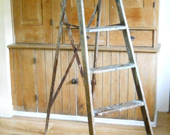 Vintage Wooden Painting Ladder • Tall Wood Painters Ladder  • Vintage Wood Ladder