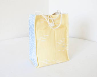 Organic Lunch Bag - Yellow and Blue Fish - Organic Cotton, Eco Friendly, Fully Insulated - Back to School Waste Free