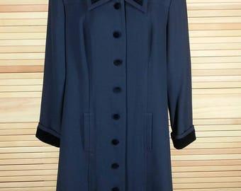Vintage 90s navy blue coat dress velvet collar cuffs Kasper size 10 chest 40
