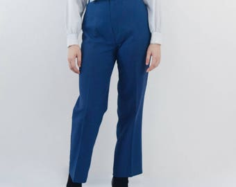SALE high waisted trousers | blue high waist pants, small - medium