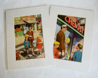 Two Vintage Prints to Frame - 1960s Ladybird Illustrations - Mummy Goes Shopping with Peter and Jane - Pictures in Card Mounts