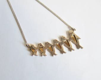 1970s Necklace with Fishes in Silver and Gold Colour Layers - Quirky Modernist Design Vintage Pendant