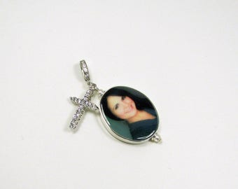 Photo Memorial Pendant with a Cz Sterling Cross Charm
