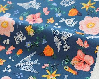 """1/2 YD-Nathalie Lete Design Fabric-cotton-""""My garden navy"""""""
