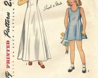 1940s Simplicity 1958 Vintage Sewing Pattern Girls Slip, Long Slip, Formal Slip Size 6