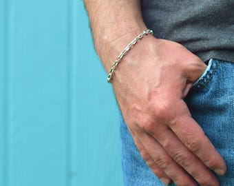 Mens bracelet Unisex bracelet Sterling silver bracelet, Made in Italy, 8 inch bracelet gifts for him