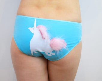 panties underwear with unicorn and pink fluffy mane and tail lingerie