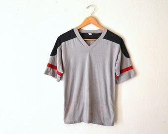 1970's Grey Athletic V-Neck Tee