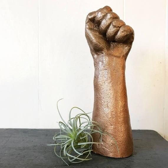 vintage hand sculpture - ceramic forearm - feminist resistance - power fist - human anatomy