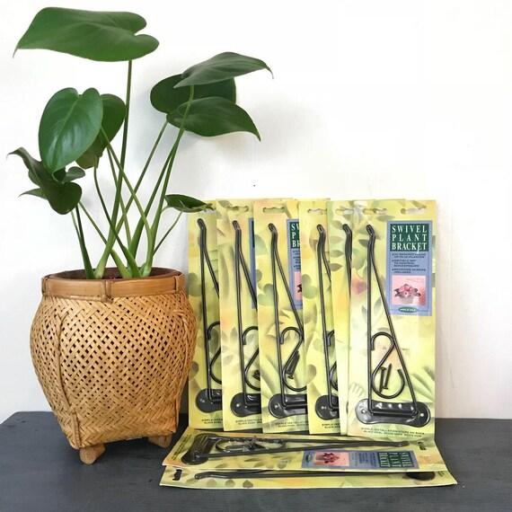 vintage plant hanger - swivel plant bracket - wall mount black metal hook arm - swag lamp hanger - macrame hook - porch decor