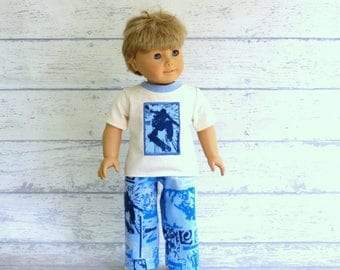 18 inch Boy Doll Skateboard Pajamas, American Boy Sk8 Shirt with Flannel Pants