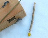 Hand Carved Wooden Crochet Hook 7mm embellished with crystal charm