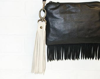 """10"""", tan leather tassel, leather bag charm, recycled leather, leather fringe, tassel keychain, upcycled, tan leather fringe, stacylynnc"""