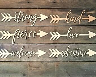 Set of Three Arrow Words, Inspirational, Wood, Wall Hangings