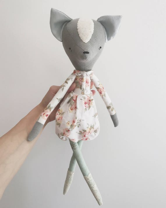 domesticated wood sprite | handmade cloth doll | animal doll - floral, lace and mint