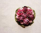 Plum Mauve Lilac moss green miniature rose corsage handmade millinery bouquet embellishment