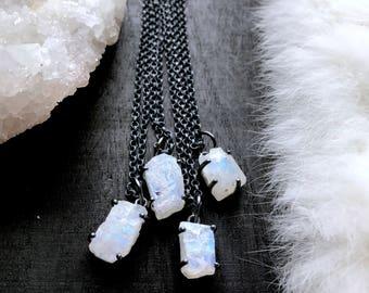 Raw rainbow moonstone necklace   moonstone crystal necklace   Raw stone necklace   Rough rainbow moonstone