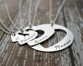 Mother's Day Gifts - Personalized Four Generation Necklace Set - Hand Cut Hearts Design in Sterling Silver by Eclectic Wendy Designs