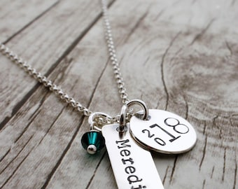 Graduation Jewelry Gift - Class of 2018 Personalized Necklace - Name, Graduation Year and Birthstone Crystal