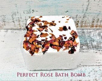 Rose Bath Bomb, bath fizzie, natural bath bomb, bath bomb gift, rose gift, gift for mom, gift for women, vegan christmas gifts