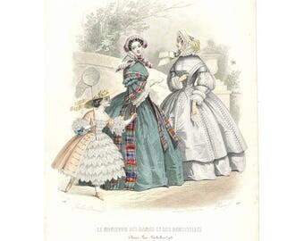 Lovely original French 1865 Paris fashion print