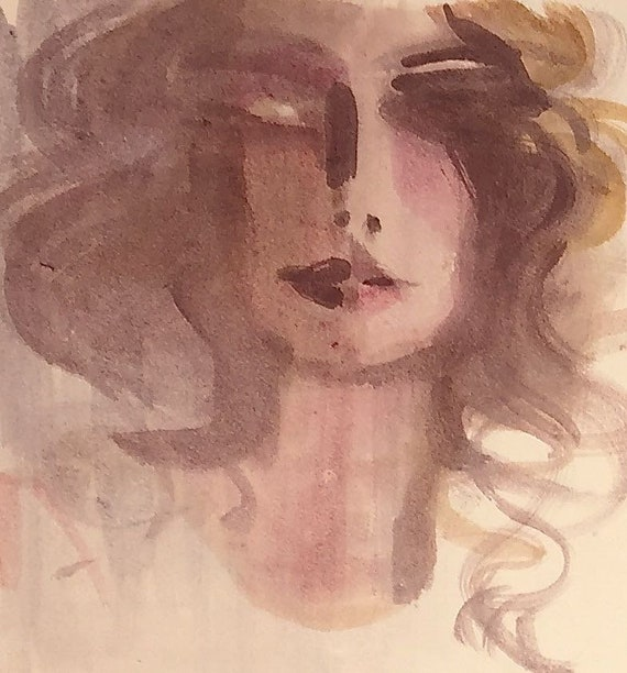 Smokey Portrait- original watercolor portrait painting by Gretchen Kelly