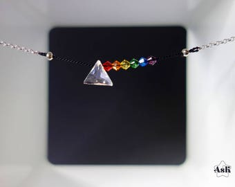 Prism necklace | Dark Side of the Moon | Pink Floyd necklace | Pink Floyd jewelry | Pink Floyd gift | sterling silver chain