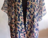 Blue Floral Print,Loose Fit, Large, Short sleeve, Kimono, Cover up, Tunic,Cardigan,Wrap Tunic,*SAVED for FLORENCE*