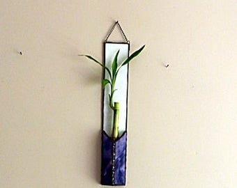Bamboo House Plant, Stained Glass Panel, Purple and Magenta, Suncatcher