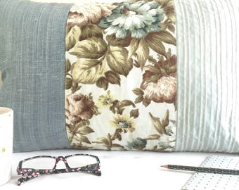 Cushion cover antique French floral fabric 60x40cm