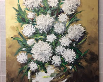 Vintage Chrysanthemums Flower Floral Painting - Mid Century Modern Art -Floral Painting - Still Life Painting - Shabby Chic Painting