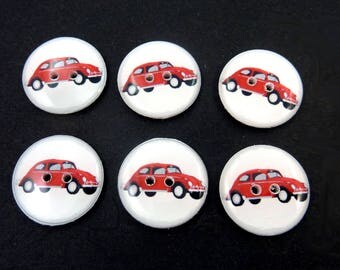 "6 Retro Red Car Buttons.  Sewing Buttons.  Washer and dryer Safe.  3/4"" or 20 mm."