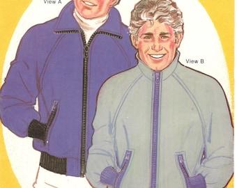 Sew Easy 163 Mens Zip Front Stadium Jacket Pattern Raglan Sleeve Fleece Outerwear Vintage Sewing Pattern Size XS S M L XL Chest 36-44 UNCUT