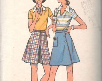 1970s Butterick 4766 Misses Golf Skirt With Tee Pocket and Knit V Neck Top Pattern T Shirt Womens Vintage Sewing Size 10 Bust 32 OR 12 B 34