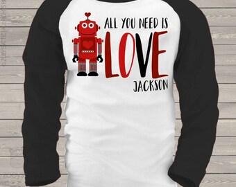 Valentine's Day robot boy personalized raglan shirt - adorable Valentine's Day shirt  snlv-034-r
