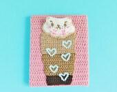 Iced Caramel Kitty Latte Crochet Painting