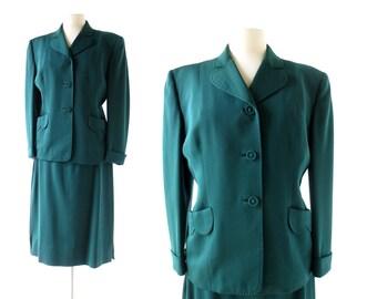 1940s Skirt Suit | Forest Green | Gabardine Suit | 40s Suit | S M
