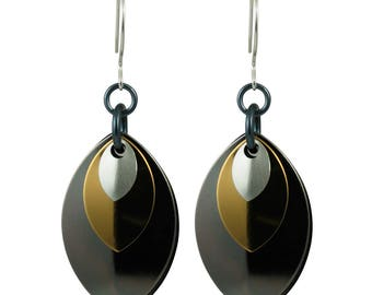 Gunmetal, Dark Gold and Silver Monochrome Musings Earrings