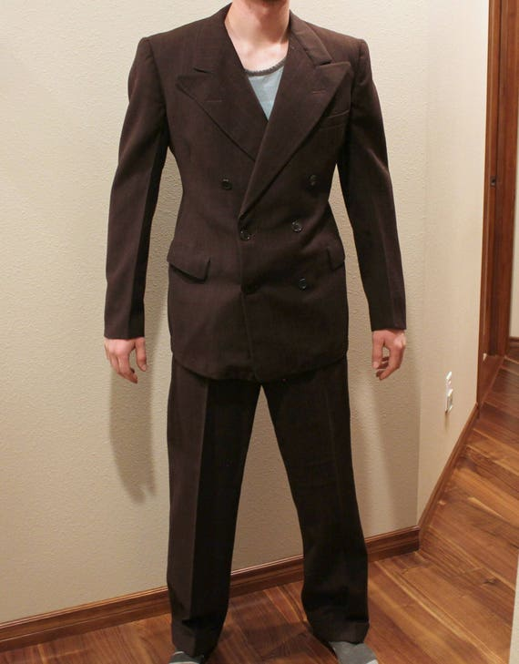 Vintage Mens Brown Pinstripe DB Suit, 1940s Gangster Style, Small Size
