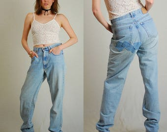 Worn GAP Jeans Vintage Stonewashed Distressed Slouchy Patched Made in the USA GAP Denim Jeans (30 waist)