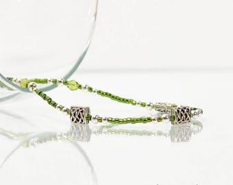 Celtic Knot Anklet Green Anklet Celtic Ankle Bracelet Army Green Unbreakable 9 inch Adjustable Anklet Handmade Jewelry