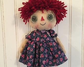 Primitive Folk Art Farmhouse Raggedy Doll Wall Hanging Shelf Sitter Country Decor Ida