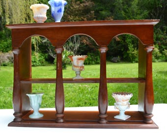 Vintage Wooden Display Shelf with Columns - for Table Top or Wall