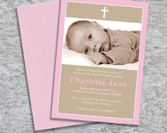 Baptism or Christening Invitation Photo – DIY Printable Personalized – Simple Border Girl (Digital File)