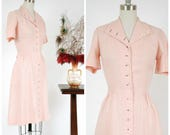 Vintage 1950s Dress - Smart Button Front Pink Linen Early 50s Day Dress with Shirring